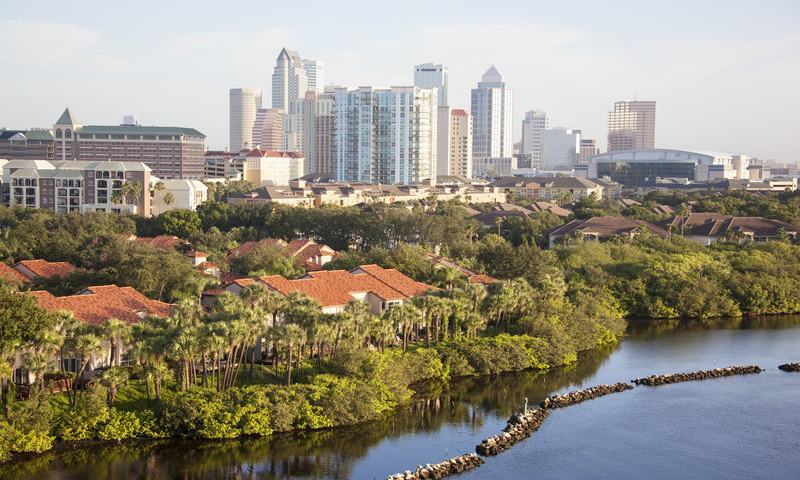View of Tampa, Florida Residential Waterfront District with Downtown in Background